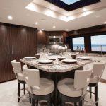 Hatteras 105 Raised Pilothouse Dining Area