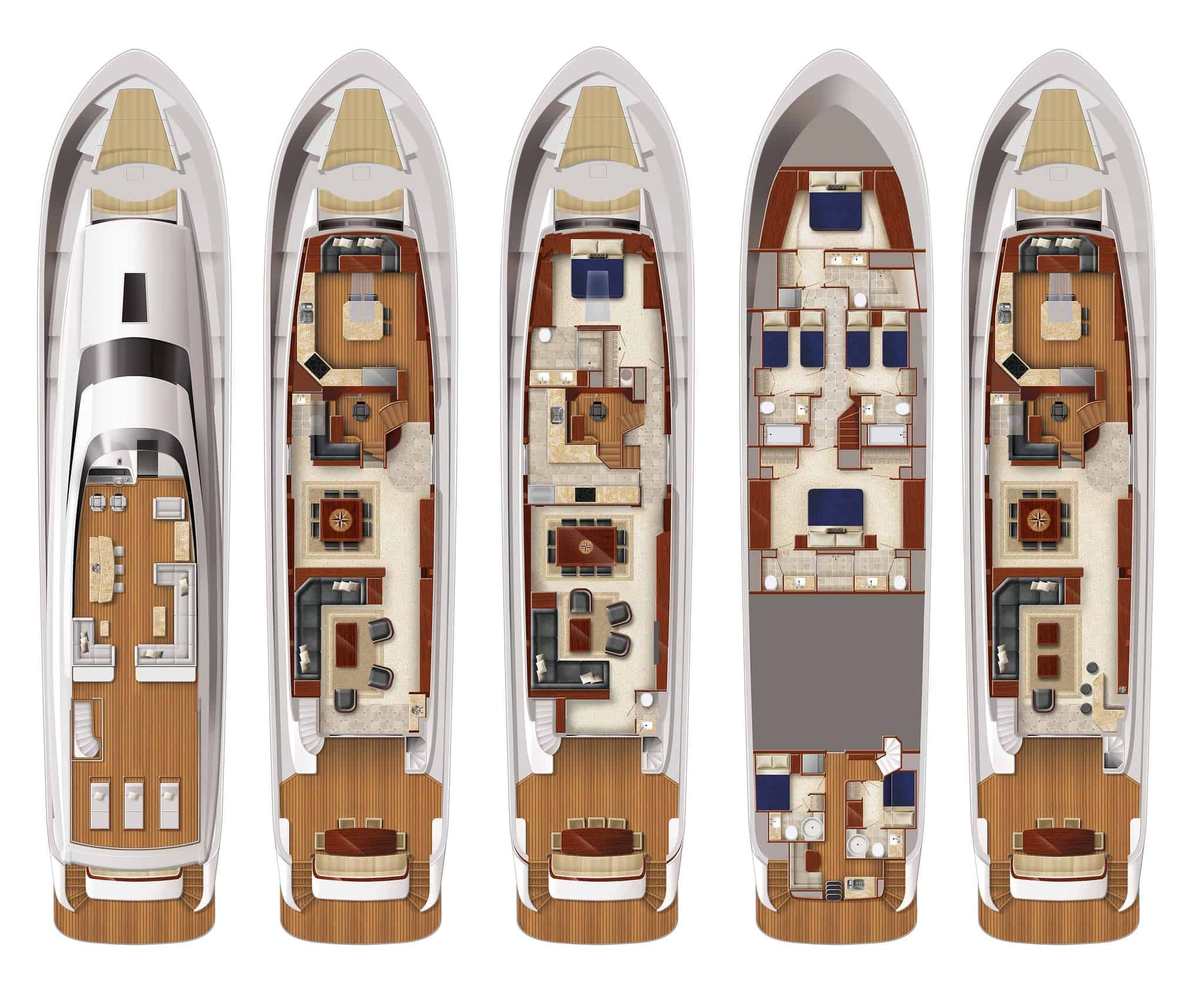Hatteras 105 Raised Pilothouse Layouts