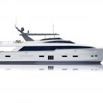 Hatteras 105 Raised Pilothouse Starboard Side Rendering