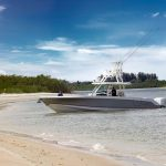 Boston Whaler 380 Outrage Beached