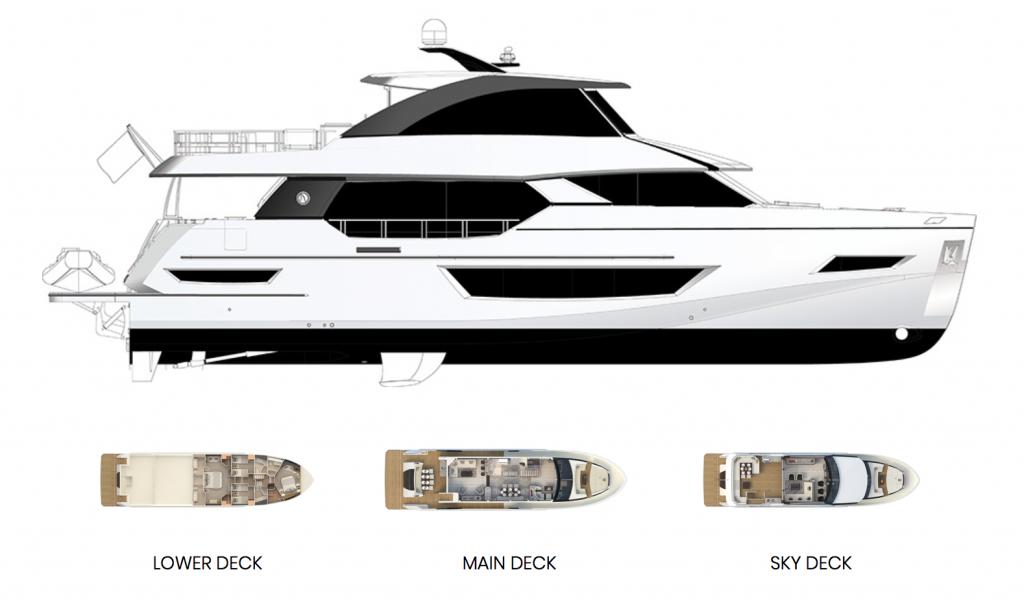Ocean Alexander 84R Enclosed Bridge Deck Layout