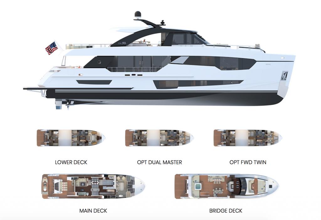 Ocean Alexander 90R Open Deck Layout