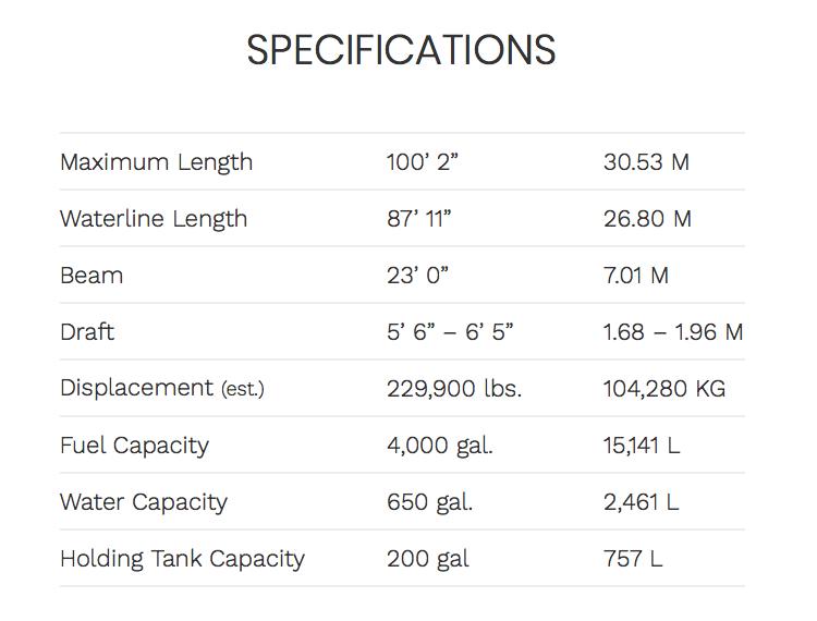 Ocean Alexander 100 Flybridge Specifications