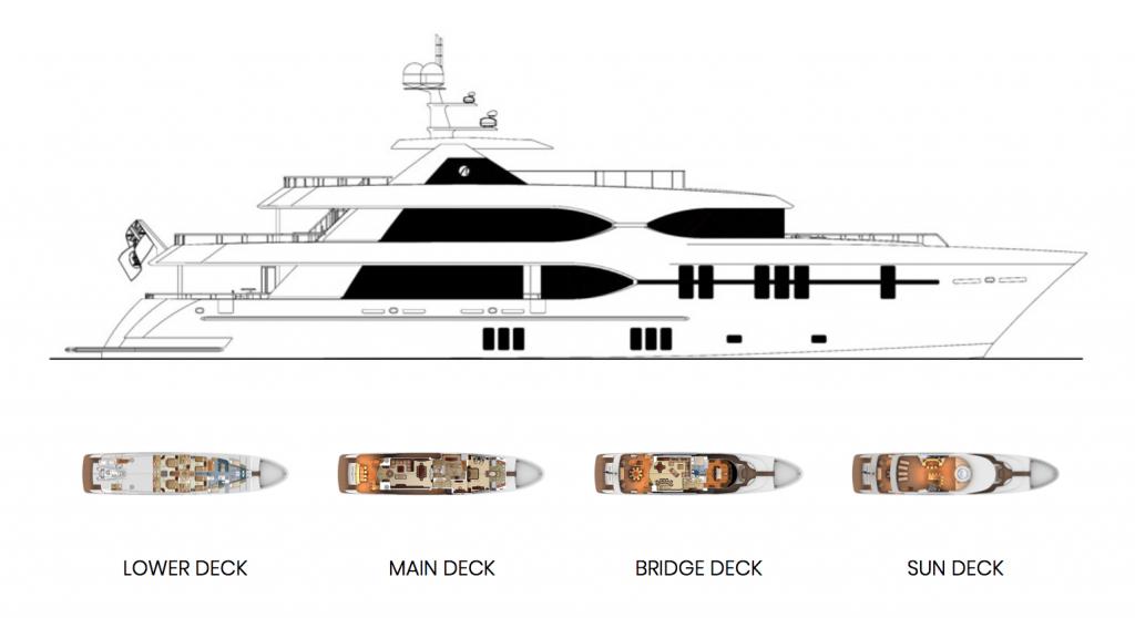 Ocean Alexander 135 Mega Yacht Deck Layout
