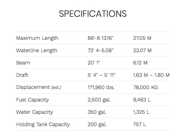 Ocean Alexander 85 Skylounge Specifications