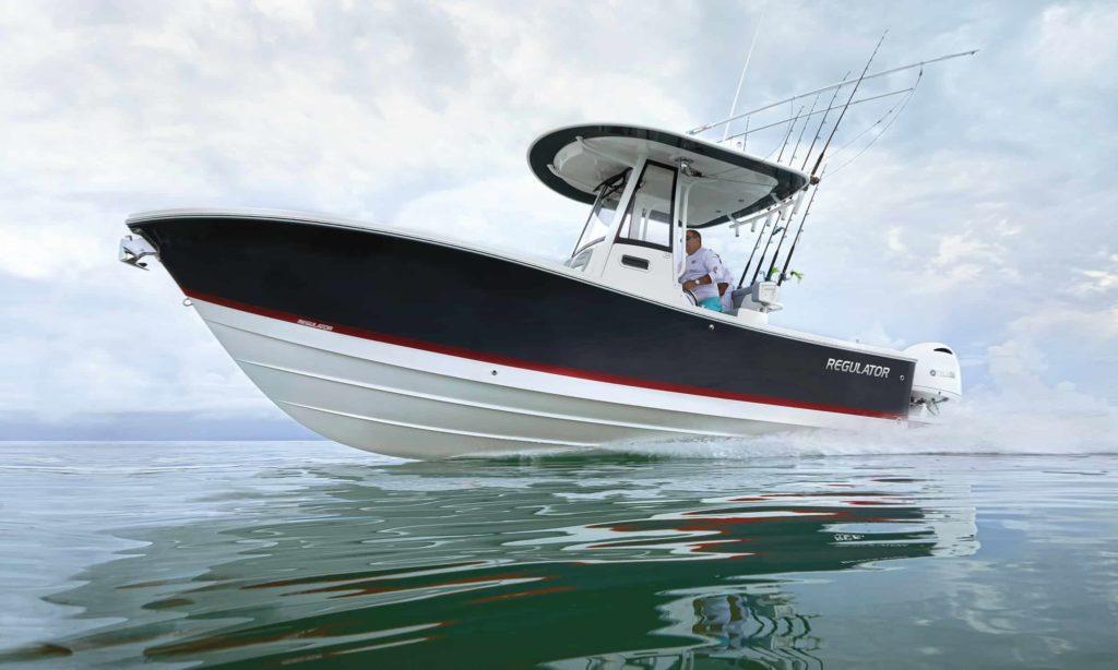 regulator 23 center console running offshore